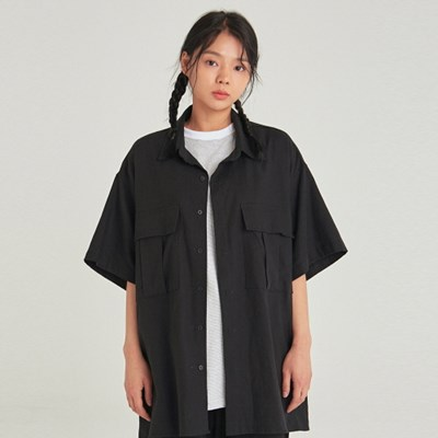 W SAFARI LINEN HALF SHIRT_BLACK