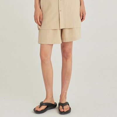 W SAFARI LINEN WIDE SHORT_LIGHT BEIGE