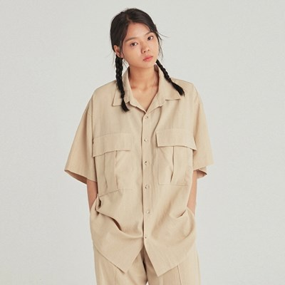 W SAFARI LINEN HALF SHIRT_LIGHT BEIGE