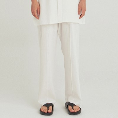 W SAFARI LINEN WIDE PANTS_IVORY