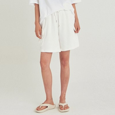W CARGO WIDE SWEAT SHORT_IVORY