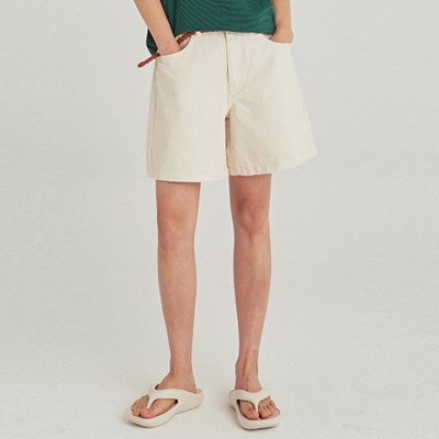 W ECRU WIDE COTTON SHORT_CREAM