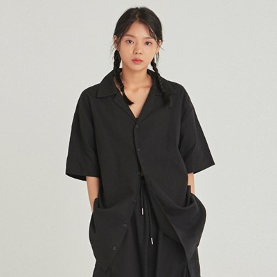 W EASY OPEN LINEN HALF SHIRT_BLACK