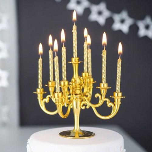 샹들리에 생일케익초 촛대&캔들 세트 [메탈골드]_(12089897)