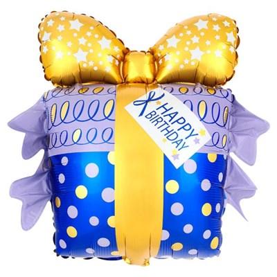 [원팩] 생일은박풍선 리본선물 골드앤블루 60x68cm_(12089204)