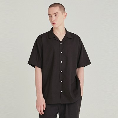 LINEN OVERSIZED HALF SHIRT_BLACK
