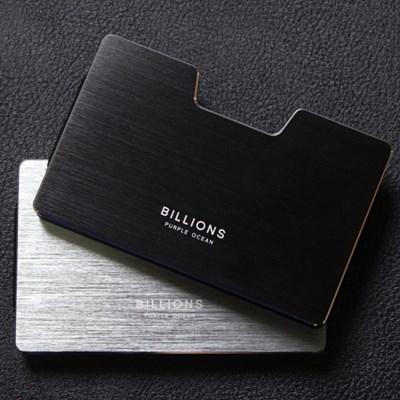 퍼플오션 Billions 남자 메탈 미니멀 심플 카드 지갑 케이스