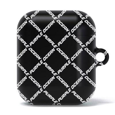 퍼플오션 블랙 로고 체크 패턴 에어팟 1 2 케이스