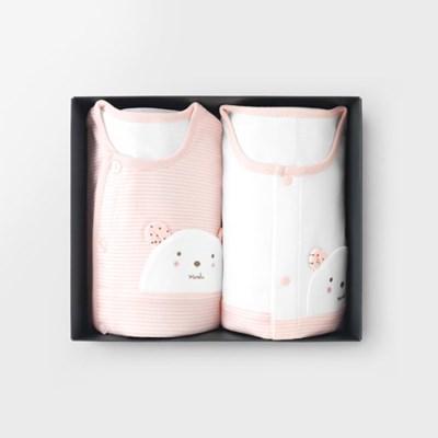 [메르베] W곰돌이 아기 돌선물세트(내의+수면조끼)_사계_(1492446)