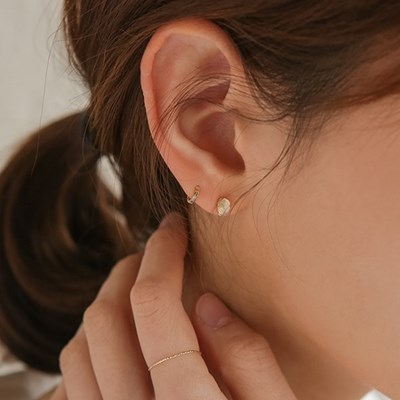 14k gf moonstone oval earrings (14K 골드필드)