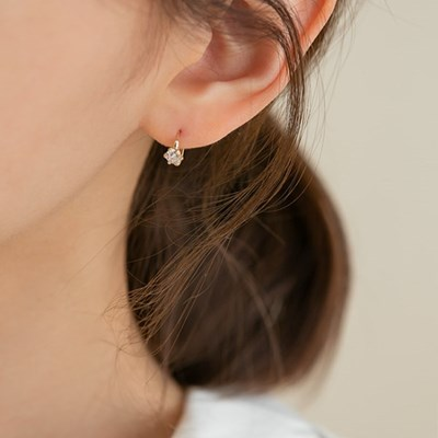925 silver mini CZ onetouch ring earrings (925실버)