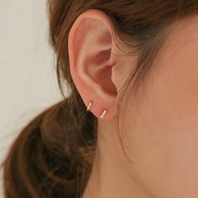 925 silver CZ mini stick earrings (2color) (925실버)