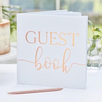 [빛나파티]화이트 로즈골드 웨딩 방명록 Rose Gold Guest Book