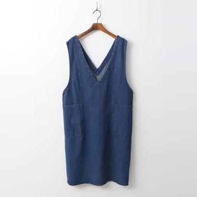 Denim V-Neck Dress