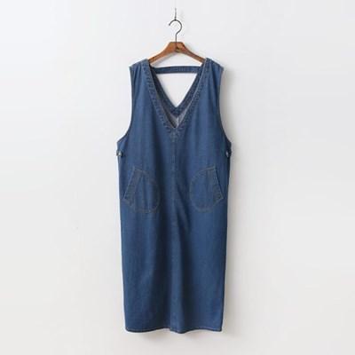 Denim V-Neck Long Dress