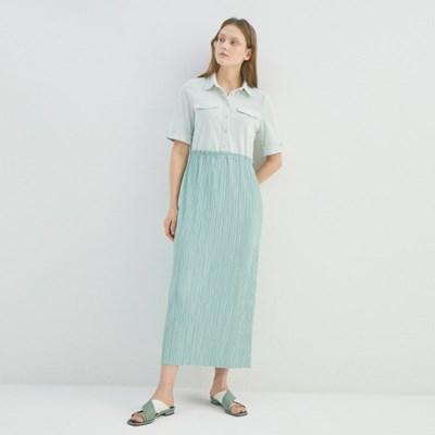 JASMINE LONG PLEATS DRESS (2COLORS)