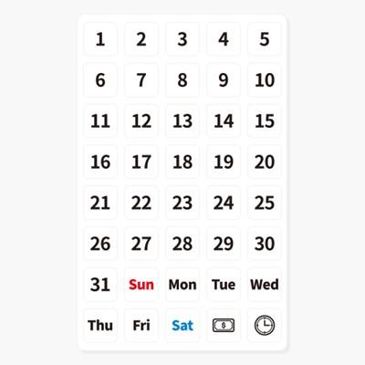 [마그피아] 일자(숫자/요일) 고무자석 블랙/레드 택1