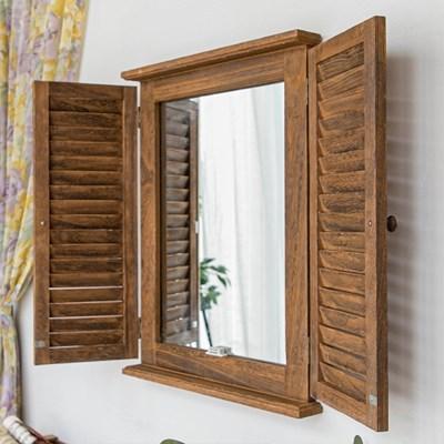 빈티지 우드 창문 벽 거울