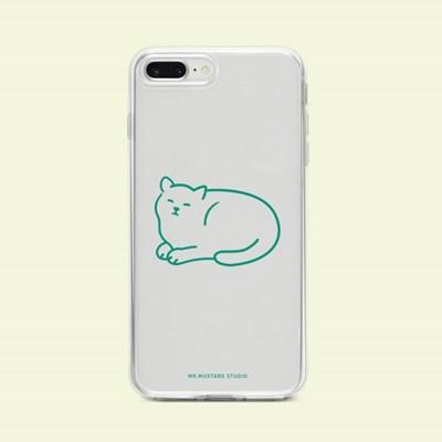 Happy Moment Cat (green) 투명젤리 폰케이스