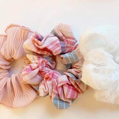[3개세트][3color] 달리아 분홍색 체크 레이스 곱창 머리끈 세트