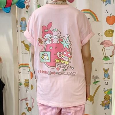 수바코X마이멜로디 딸기티셔츠