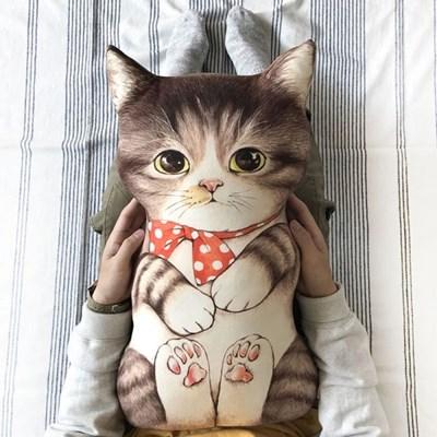 쿠션용 DIY 커트지 고등어 태비 고양이 (20수 린넨, 45X75cm)