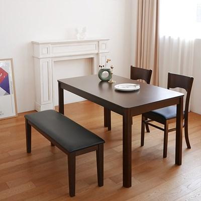 모아이 프레첼 4인 고무나무 원목 식탁세트(벤치형)-월넛(착불)