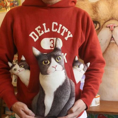 턱시도 고양이 가족 (20수 린넨 DIY패브릭 45X65cm)