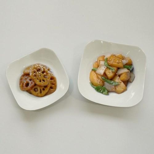 프리첸 투톤 멜라민 사각찬기 중/대 반찬그릇 간식