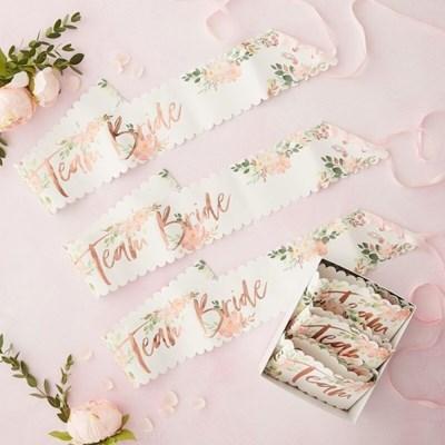 팀브라이드 브라이덜 샤워 어깨띠 6개세트 Floral Team Bride Hen Pa