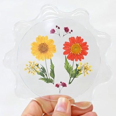 꽃모양 압화컵받침 diy 만들기세트 티코스터 압화교구 미술수업