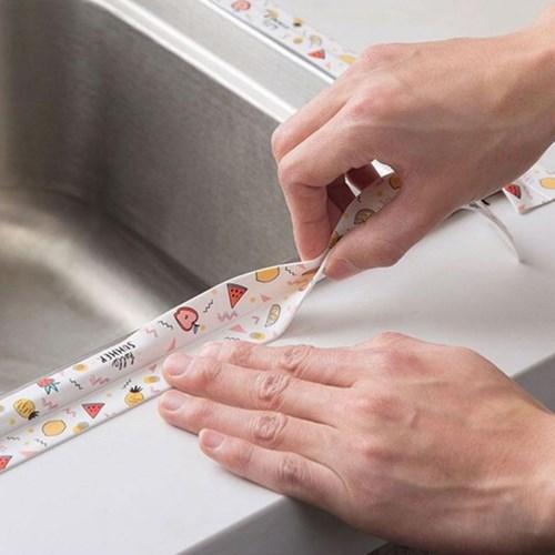 싱크대 가스렌지 주방 욕실 테두리 곰팡이 러블리 패턴 방수테이프