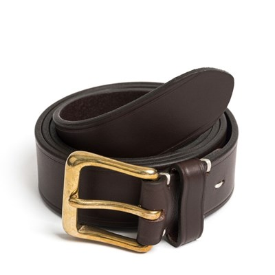 CL BRASS LEATHER BELT (dark brown)
