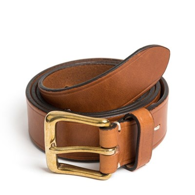 CL BRASS LEATHER BELT (brown)