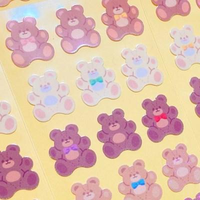 트윙클 Fluffy Bear Brown 칼선 스티커