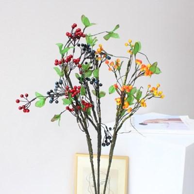 미니 사이즈 베리열매 조화가지 장식(3color)
