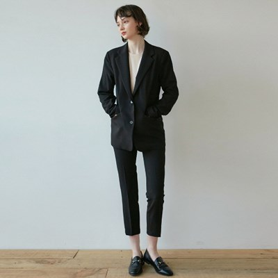 DRAMA SUIT JACKET+SLACKS SET_BLACK