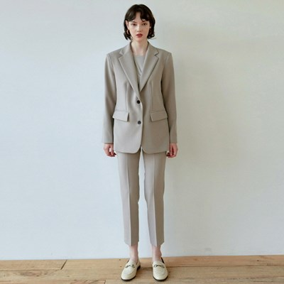 DRAMA SUIT JACKET+SLACKS SET_SAND GRAY