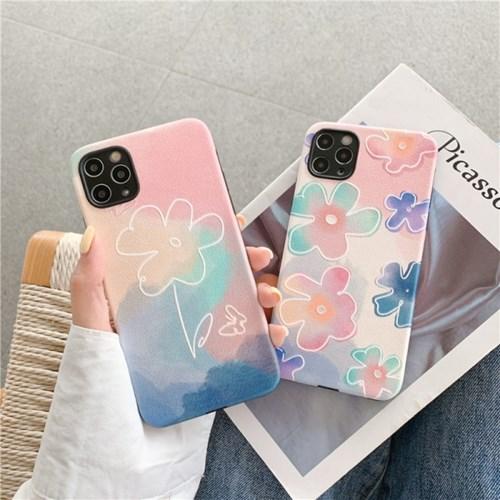 핑크블루 브러쉬 플라워 레더스타일 카메라보호 아이폰케이스