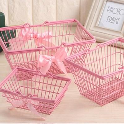 핑크 철제 바스켓 바구니 3size [빈티지 수납 사각바구니 소품 정리]