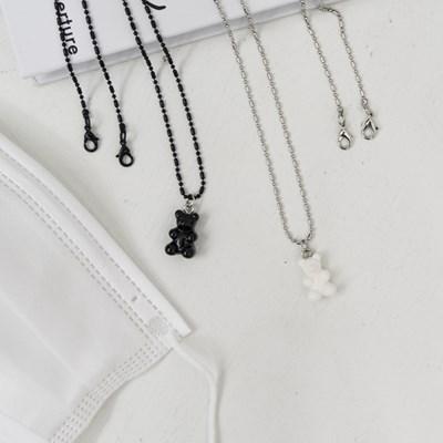 블랙&화이트 젤리곰 마스크 스트랩 목걸이 겸용