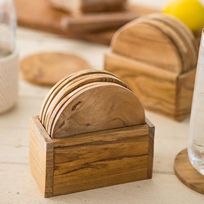 티크나무 컵받침 6p 세트