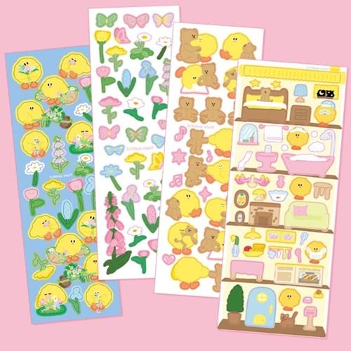 슬로우스터프 씰스티커 (꽃의정원, 꽃과 나비, 곰인형, 돌 하우스)