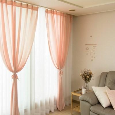 프리미엄 로맨틱 핑크 쉬폰 커튼