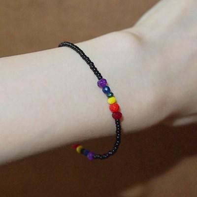 rainbow_black_br 레인보우 블랙 비즈팔찌