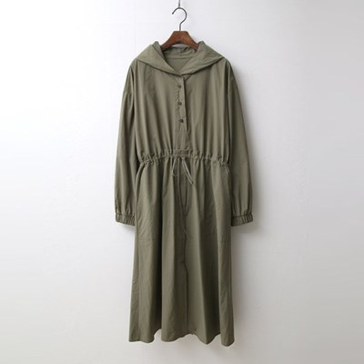 Hooded Fit N Flare Long Dress