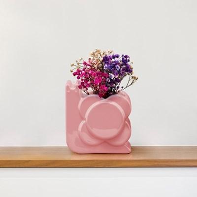 [올라카일리] 도자기 화병 꽃병 스몰 달팽이 핑크_(4043650)