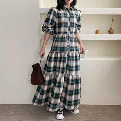 Check Puff Shirts Cancan Long Dress