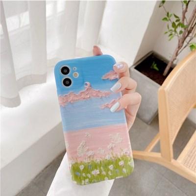 핑크구름 나비 실리콘 풀커버디자인 카메라보호 아이폰케이스
