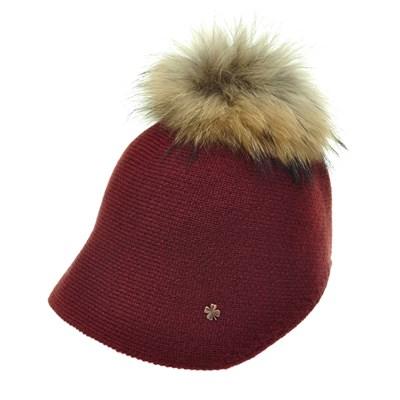 JAU06.라쿤 털방울 니트 여성 벙거지 중년 여성 보넷 겨울 모자